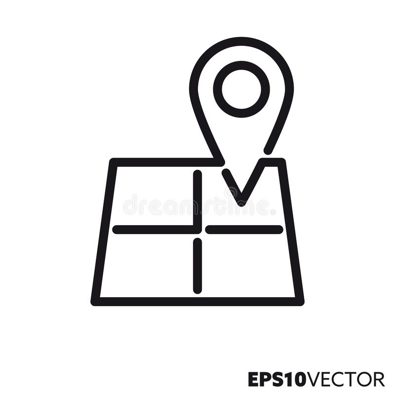 Marker on map vector line icon. Marker on map line icon. Outline symbol of navigation and location. Travel flat vector illustration royalty free illustration