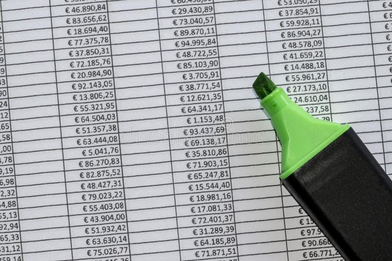 Marker over a excel spreadsheet with figures in euros royalty free stock image