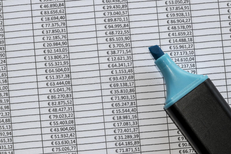 Marker over a excel spreadsheet with figures in euros. Closeup of marker over a excel spreadsheet with figures in euros stock photography