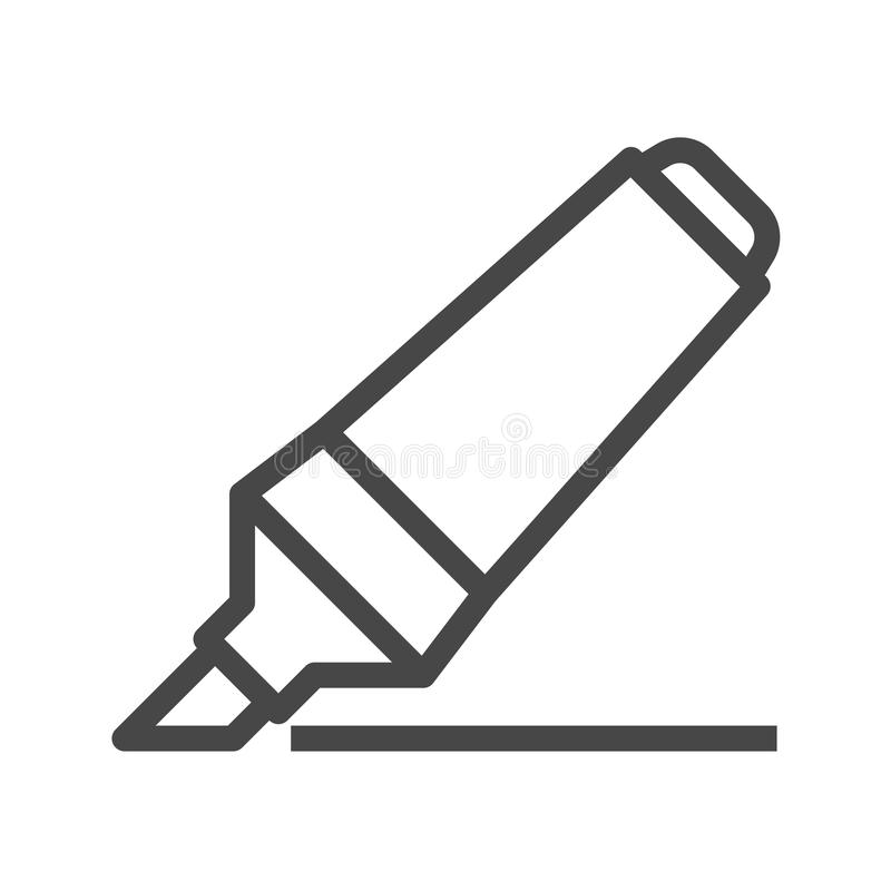 Marker Pen Thin Line Vector Icon. Flat icon isolated on the white background. Editable EPS file. Vector illustration royalty free illustration