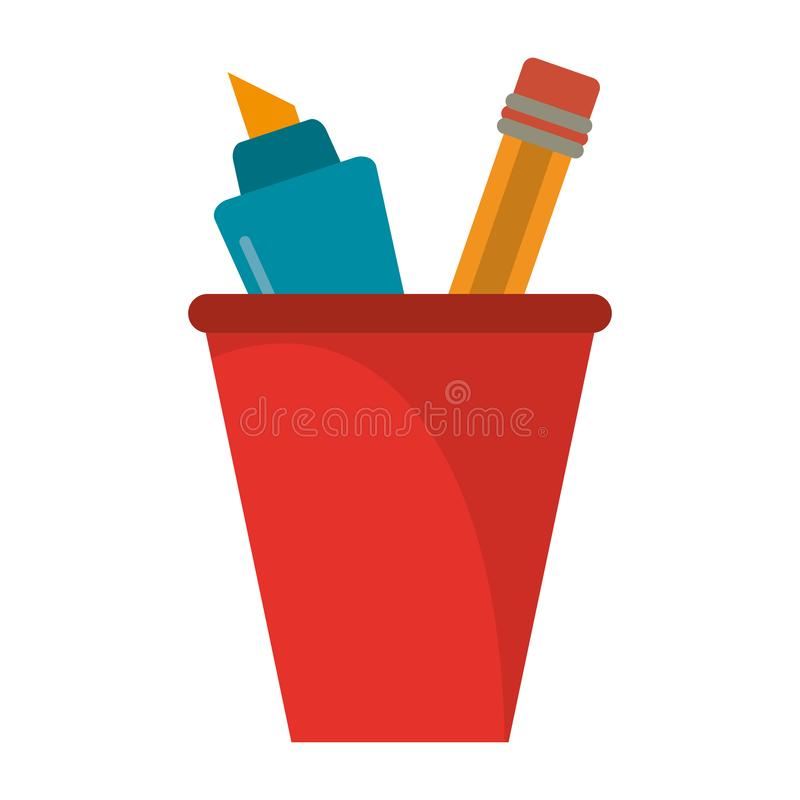 Marker and pencil in cup. Vector illustration graphic design stock illustration