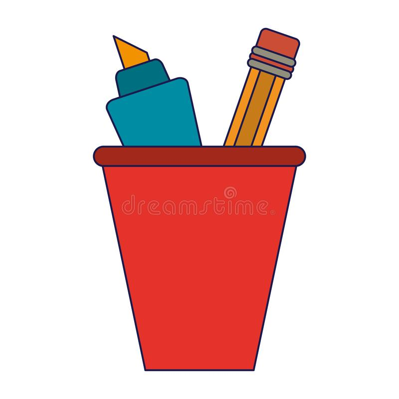 Marker and pencil in cup. Vector illustration graphic design vector illustration