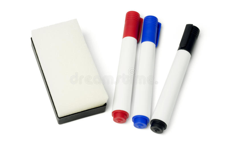 Marker Pens and Eraser royalty free stock photos
