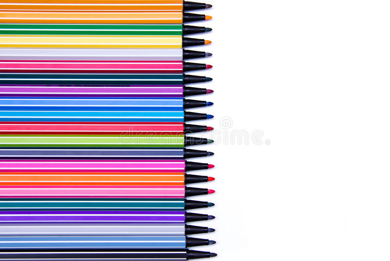Marker pens ink in a row royalty free stock images