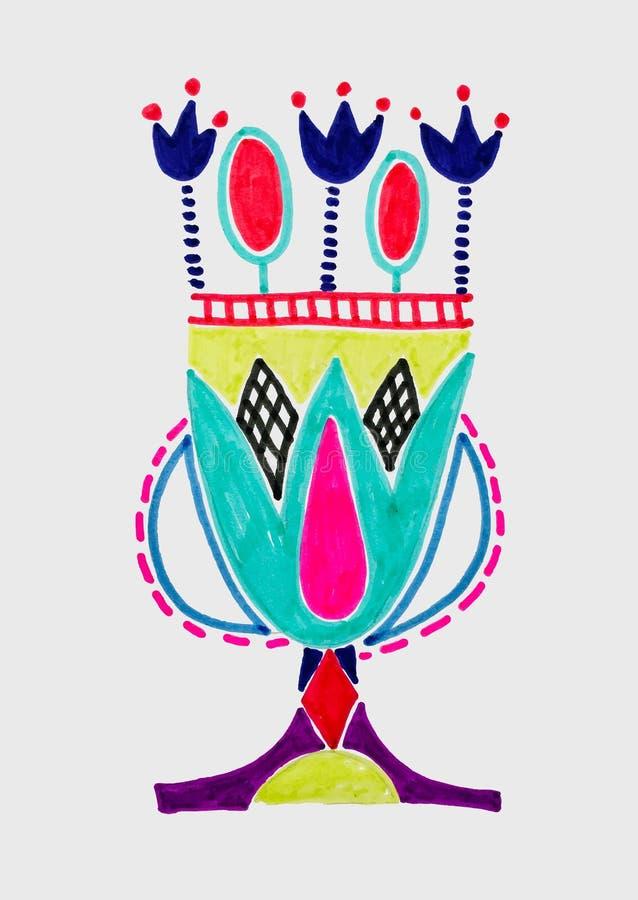 Marker sketch drawing of egyptian decoration lotus flower vector illustration