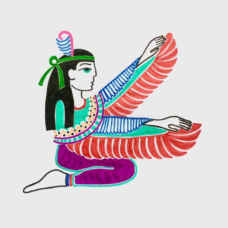 Marker sketch drawing of egyptian goddess Isis vector illustration