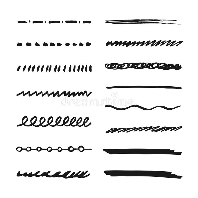 Drawing Lines Shapes Or Text On Bitmaps : Marker strokes set stock vector image