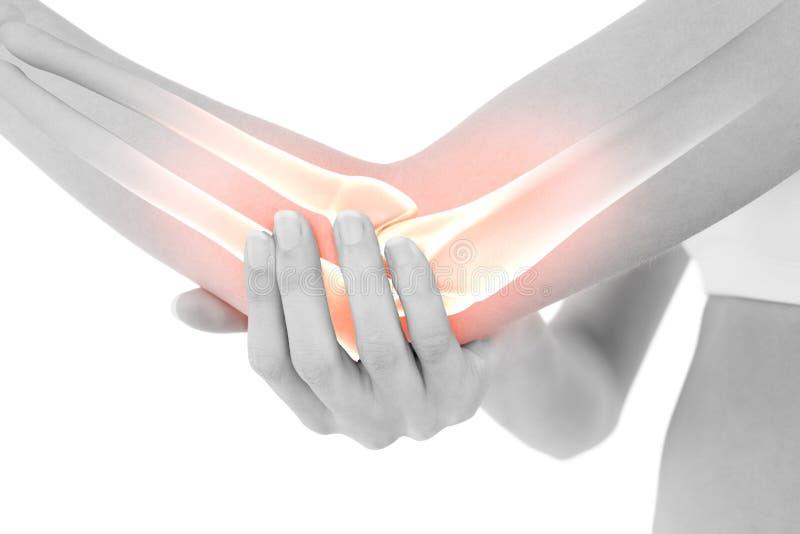 Markerade ben av kvinnan med armbågen smärtar royaltyfria foton