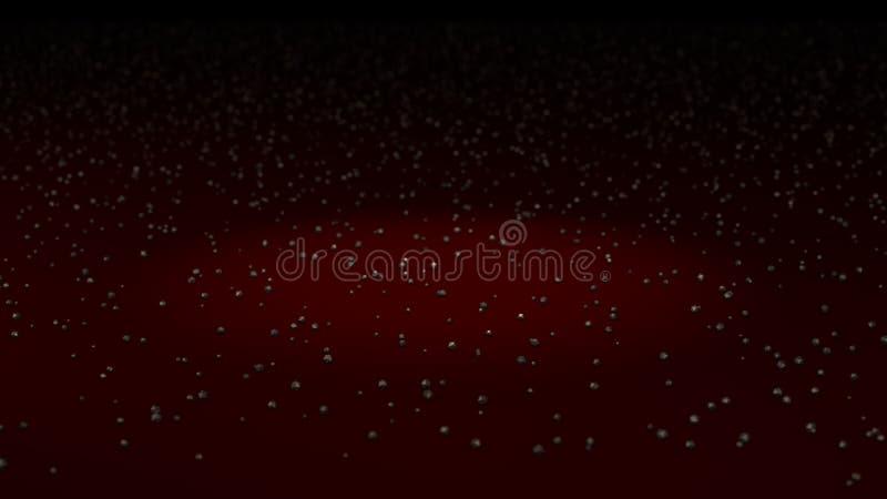 Markerat område bland partiklar för produkten, röd bakgrund vektor illustrationer