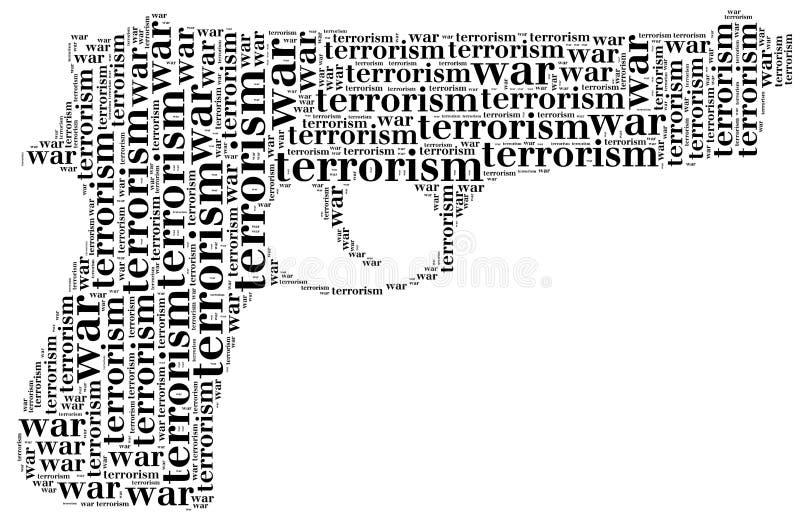 Markering of de oorlog of het terrorisme van de woordwolk verwant in vorm van pistool stock illustratie