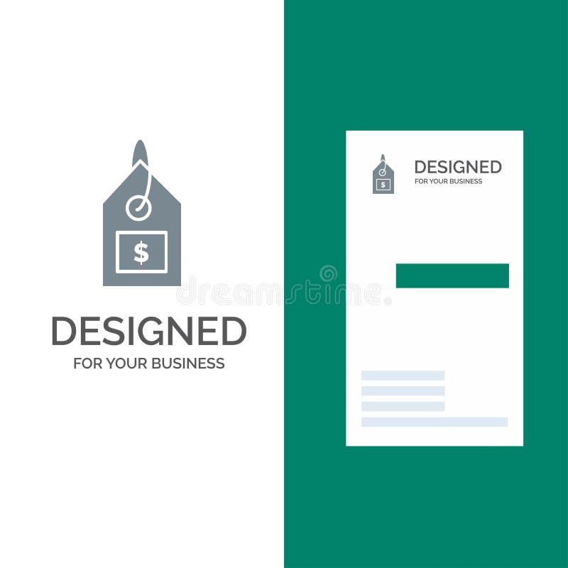 Markering, Dollar, Etiket, Interface Grey Logo Design en Visitekaartjemalplaatje royalty-vrije illustratie