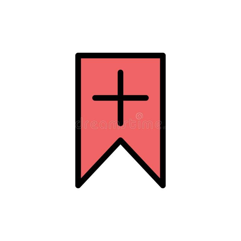 Markering, plus, Interface, Pictogram van de Gebruikers het Vlakke Kleur Het vectormalplaatje van de pictogrambanner stock illustratie