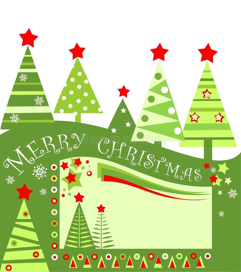Markering van de Kerstmis de vlakke stijl voor verkoop met verwijderde document abstracte groene sparren Kinderachtig ontwerp stock illustratie
