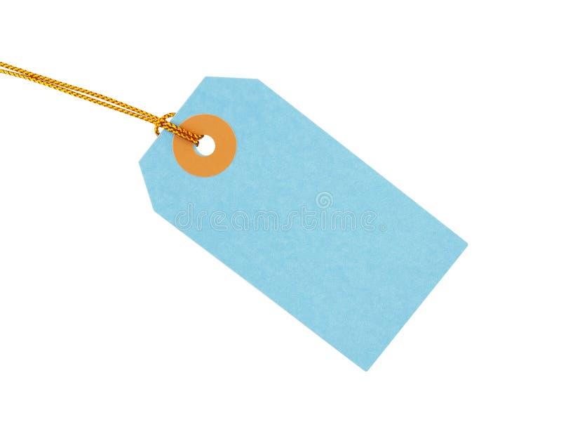 Markering van de pastelkleur schrijft de blauwe gift met gele gouden die koorden op witte achtergrond worden geïsoleerd, leeg eti stock fotografie