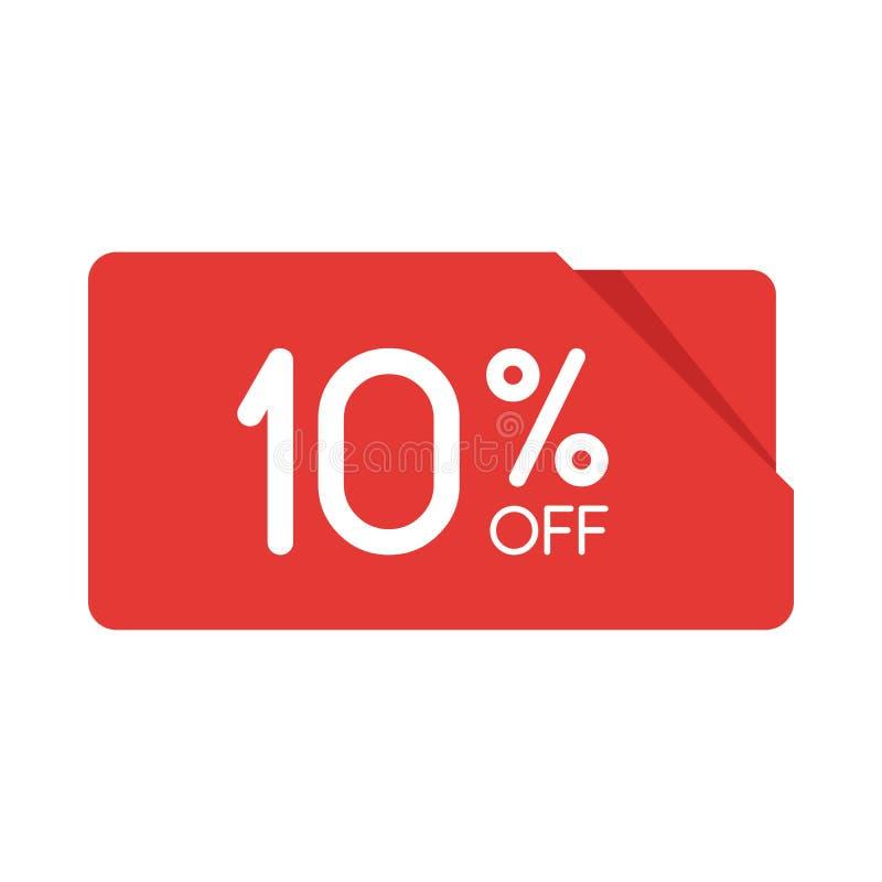 Markering van de de rechthoekorigami van de speciale aanbiedingverkoop de rode Korting de prijsetiket van de 10 percentenaanbiedi vector illustratie