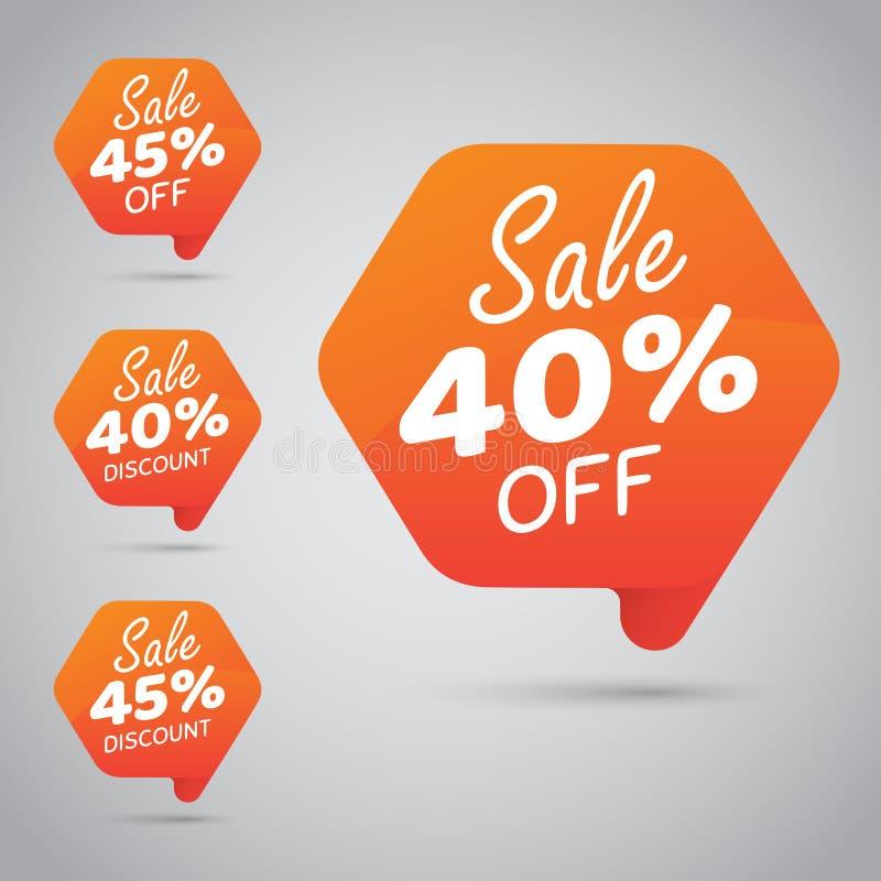 Markering voor Marketing Kleinhandelselementenontwerp 40% 45% Verkoop, Schijf, weg op Vrolijke Sinaasappel royalty-vrije illustratie