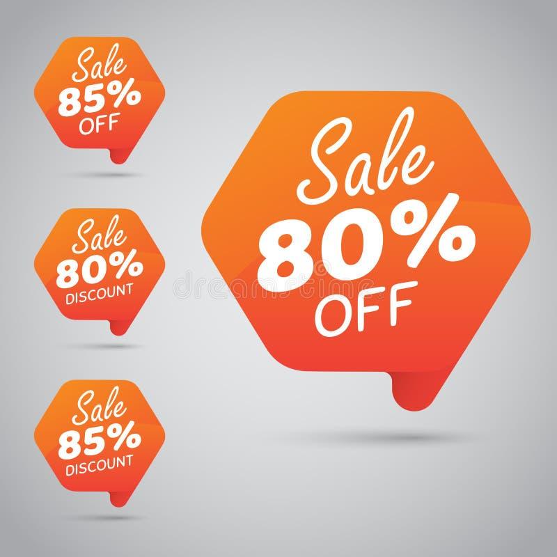 Markering voor Marketing Kleinhandelselementenontwerp 80% 85% Verkoop, Schijf, weg op Vrolijke Sinaasappel royalty-vrije illustratie