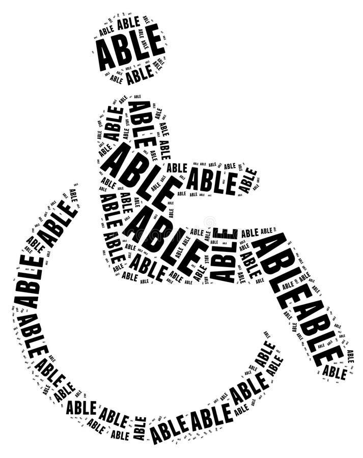 Markering of woordwolk in verband met gehandicapten royalty-vrije illustratie
