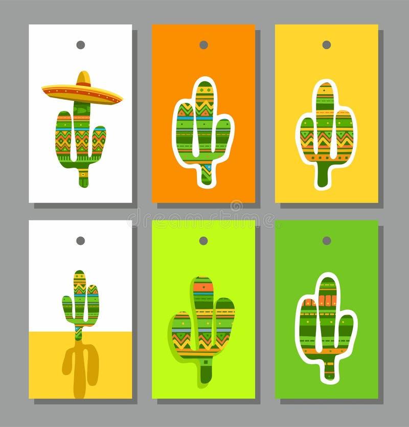 Markeringen, etiketten, gekleurde cactus, stock illustratie