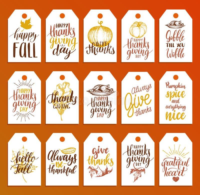 Markeringen met het van letters voorzien en illustraties voor Thanksgiving day Getrokken vector en met de hand geschreven etikett stock illustratie