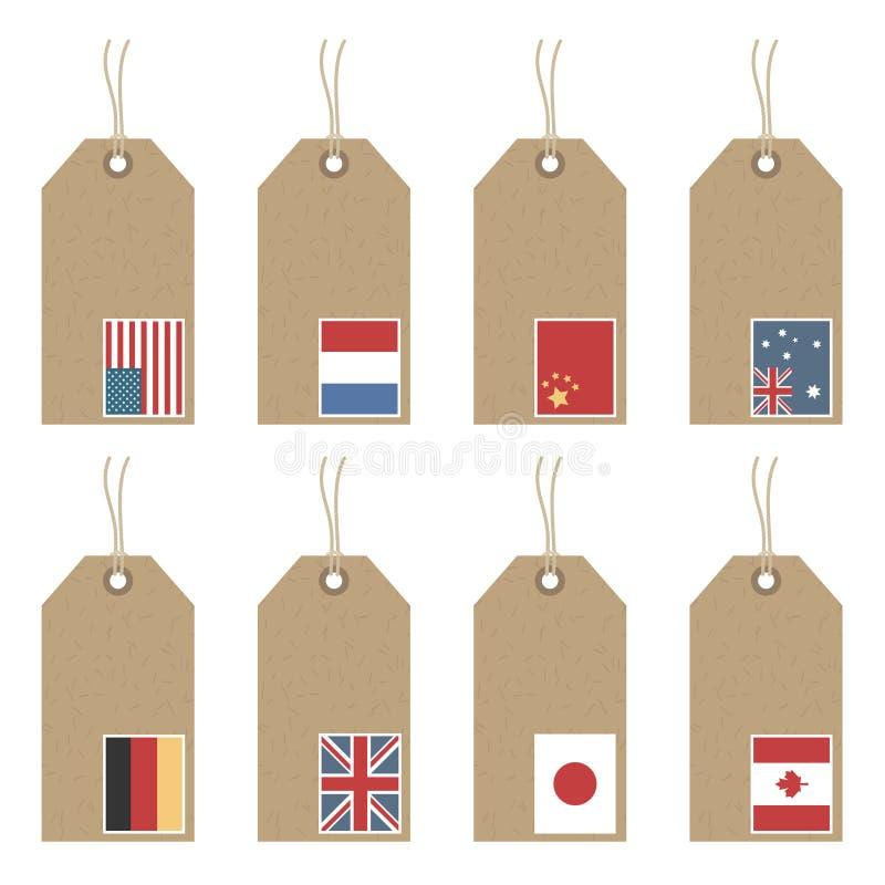 Markeringen met vlaggen stock illustratie