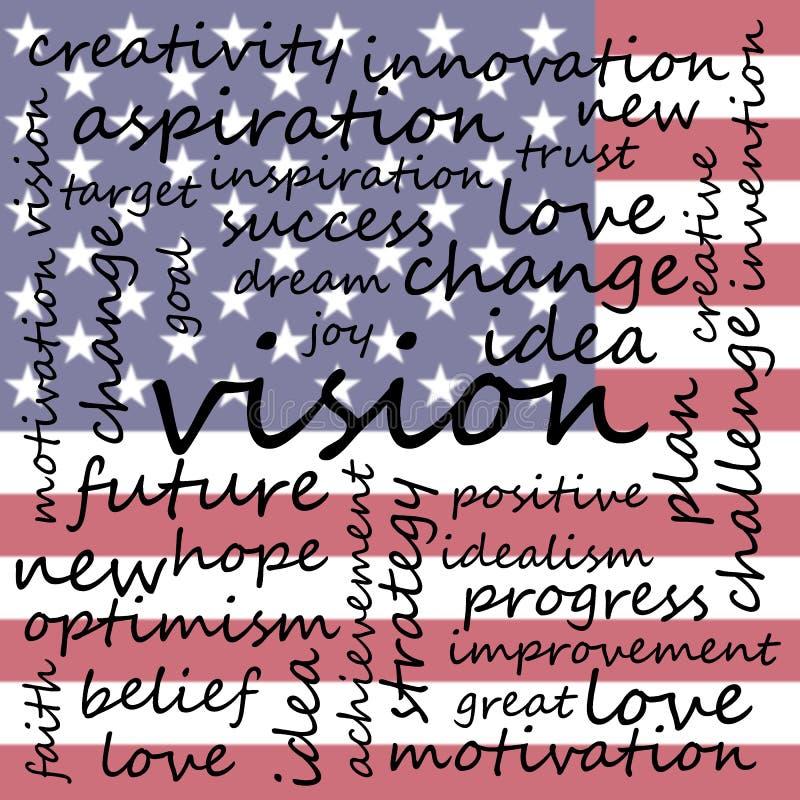 Markeringswolk met Woorden Met betrekking tot Visie en Optimisme, de Vlagachtergrond van de V.S. royalty-vrije illustratie