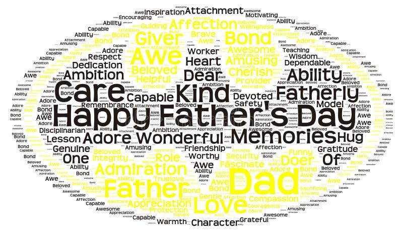 Markeringswolk van de dag van de vader in de vorm van batmansymbool royalty-vrije illustratie