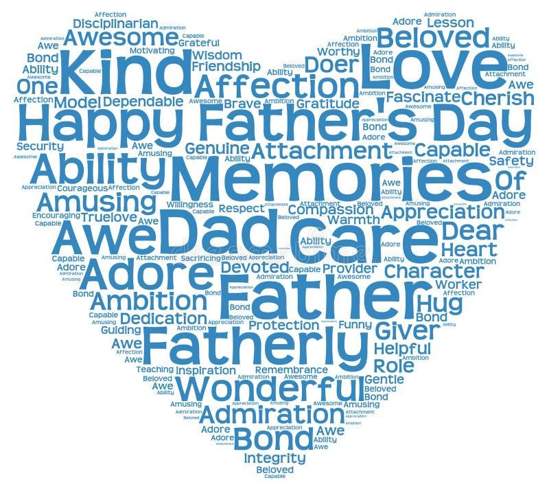 Markeringswolk van de dag van de vader in de vorm van blauw hart stock illustratie