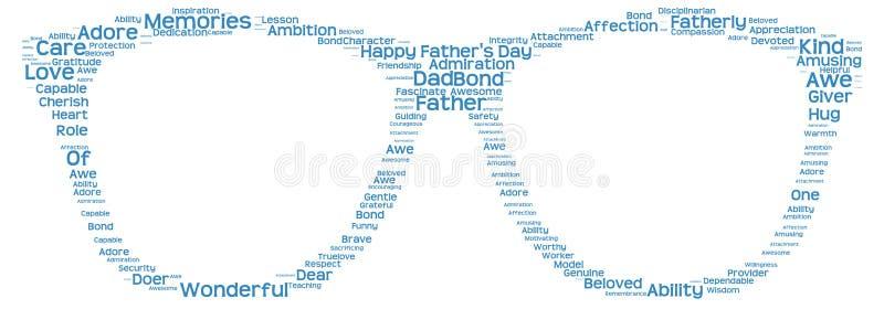 Markeringswolk van de dag van de vader in de vorm van glazen vector illustratie