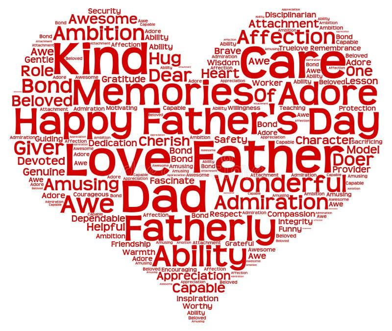 Markeringswolk van de dag van de vader in de vorm van rood hart royalty-vrije illustratie