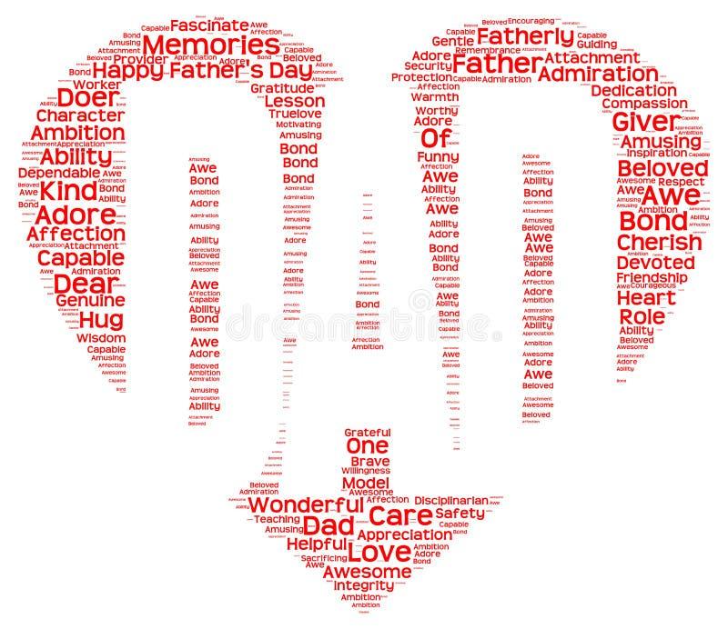 Markeringswolk van de dag van de vader in de vorm van rood hart die DAD inschrijven royalty-vrije illustratie