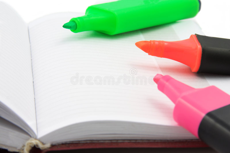 Download Markers stock photo. Image of open, orange, notepad, daybook - 1292978