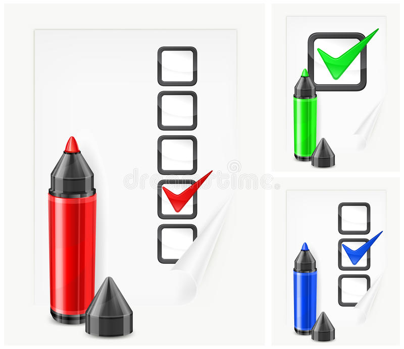 Download Markers With Check Marks On Paper Stock Vector - Image: 24979241
