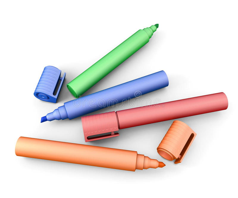Markers of different colors royalty free illustration