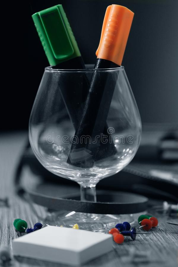 Markers in the glass royalty free stock image