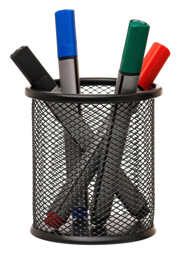 Markers In Holder Stock Image