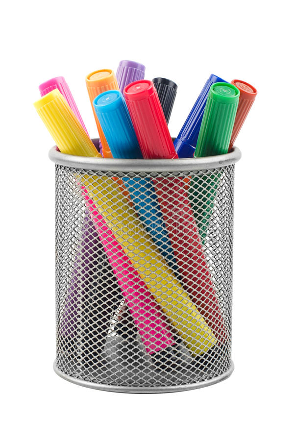 Markers in metal cup stock photos