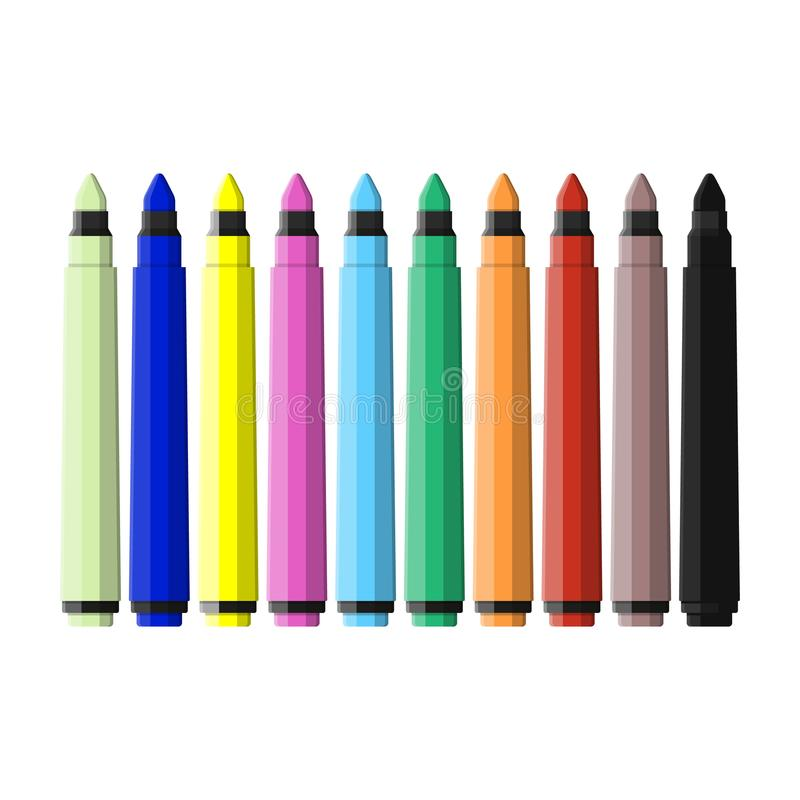 Markers pen. Set of varioust color markers. Watercolor pen. Tool for designer, illustrator, artist. Stationery and office supply. Vector illustration in flat royalty free illustration