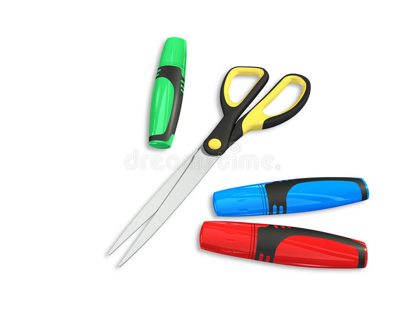 Download Markers and scissors stock illustration. Image of draw - 12868274