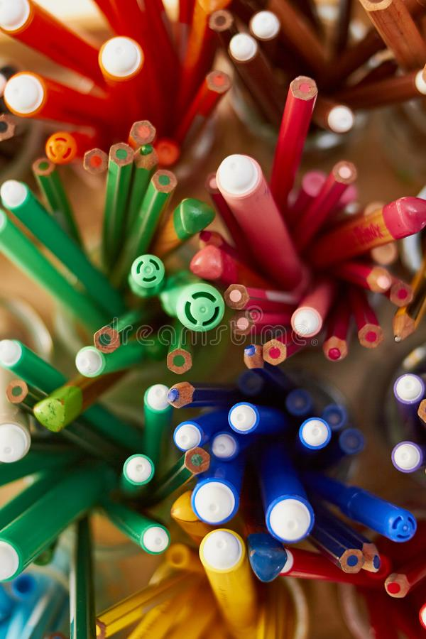 Markers set from top. In glass cups royalty free stock photo