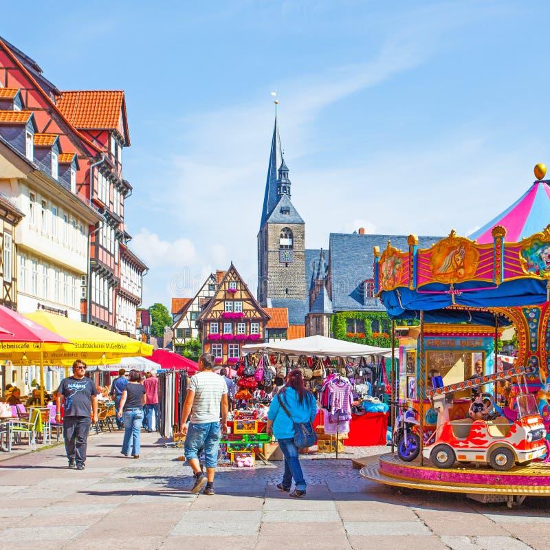 Markert fyrkant i Quedlinburg royaltyfri fotografi
