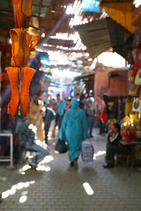 Market. A moroccan market with little shoes in front stock photography