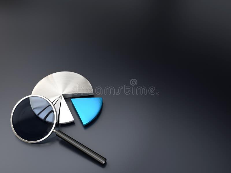 Market analysis pie chart background vector illustration
