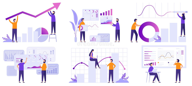 Market analytics. Finance prediction, trends forecast and business strategy analytics flat vector illustration set royalty free illustration