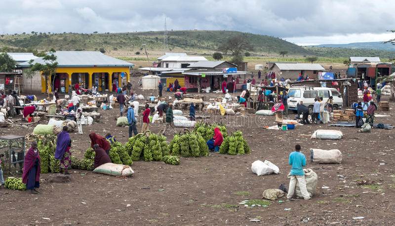 Market in Arusha. Fields where they are buying bananas it, is a picture taken in May 2014 stock photos