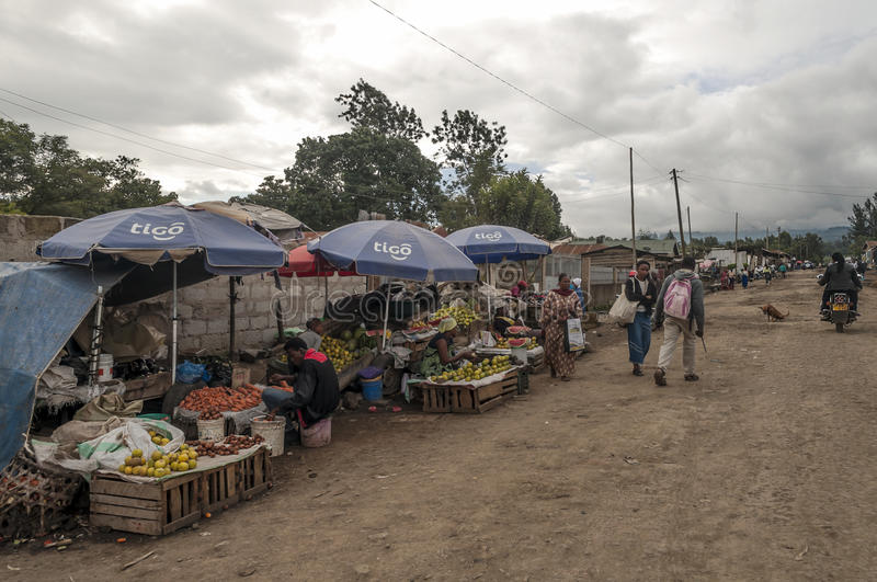 Market in Arusha. Fields where they are buying fruits, it is a picture taken in May 2014 stock photo