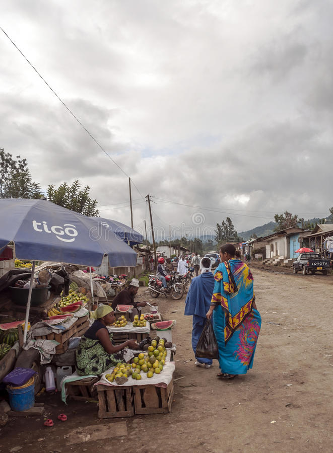 Market in Arusha. Fields where they are buying fruits, it is a picture taken in May 2014. It´s a vertical picture stock images