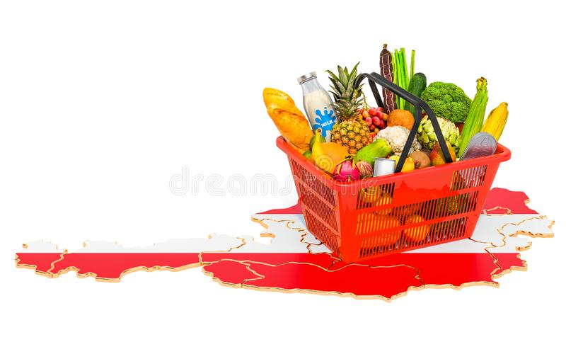 Market basket or purchasing power in Austria concept. Shopping basket with Austrian map, 3D rendering. Isolated on white background royalty free illustration