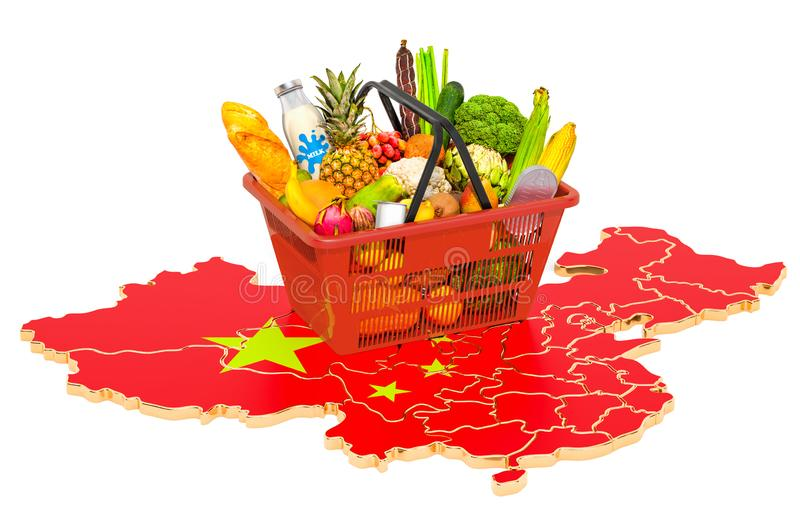 Market basket or purchasing power in China concept. Shopping basket with Chinese map, 3D rendering vector illustration