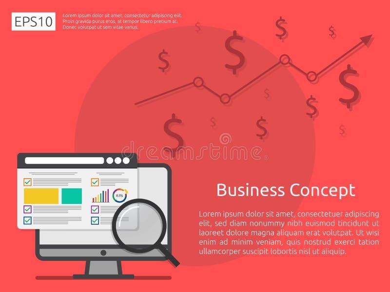 market business research strategy, data analysis development ban vector illustration